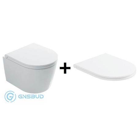Globo Forty3 Zestaw Toaleta WC podwieszana 43x36 cm Senzabrida bez kołnierza z deską sedesową wolnoopadającą, biały FOS06.BI+FOR22BI