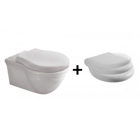 Globo Paestum Zestaw Toaleta WC podwieszana 57x38 cm z deską sedesową wolnoopadającą, biały PAS03.BI+PA029