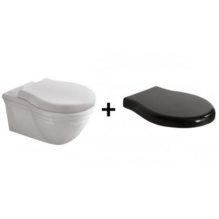 Globo Paestum Zestaw Toaleta WC podwieszana 57x38 cm z deską sedesową zwykłą, biały/czarny PAS03.BI+PA020N