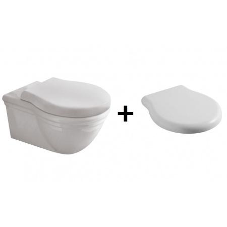 Globo Paestum Zestaw Toaleta WC podwieszana 57x38 cm z deską sedesową zwykłą, biały PAS03.BI+PA020