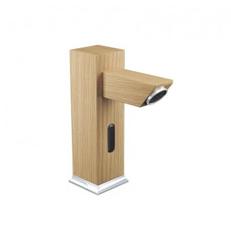 Green Home Design Bezdotykowa bateria umywalkowa drewniana, dąb europejski UB01