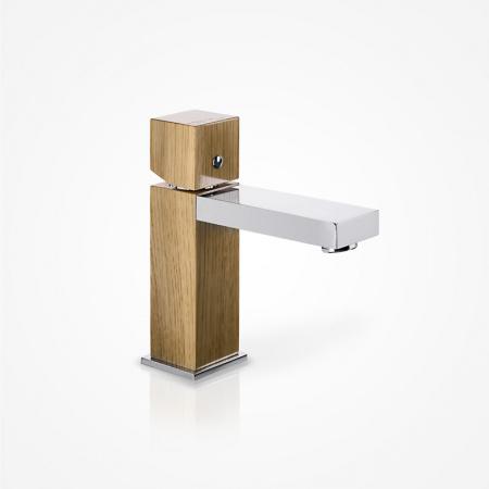 Green Home Design Jednouchwytowa bateria umywalkowa drewniana, dąb europejski UN01