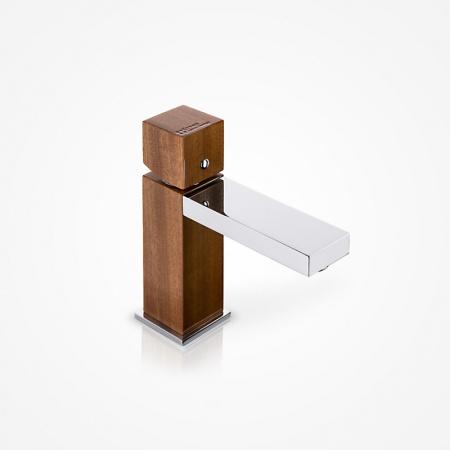 Green Home Design Jednouchwytowa bateria umywalkowa drewniana, mahoń afrykański UN02