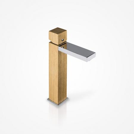 Green Home Design Jednouchwytowa bateria umywalkowa wysoka drewniana, dąb europejski UW01