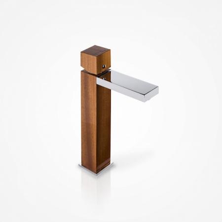 Green Home Design Jednouchwytowa bateria umywalkowa wysoka drewniana, mahoń afrykański UW02
