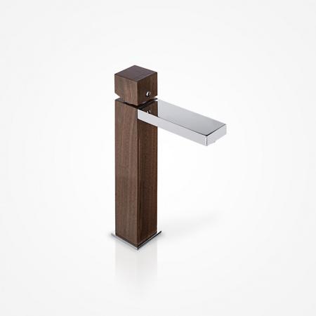Green Home Design Jednouchwytowa bateria umywalkowa wysoka drewniana, orzech amerykański UW03
