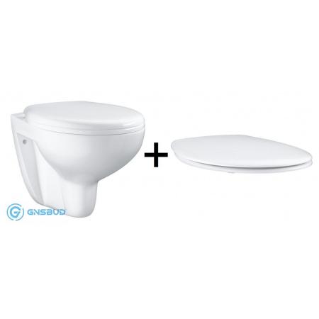 Grohe Bau Ceramic Zestaw Toaleta WC podwieszana 53,1x36,8 cm bez kołnierza z deską sedesową wolnoopadającą, biała 39427000+39493000
