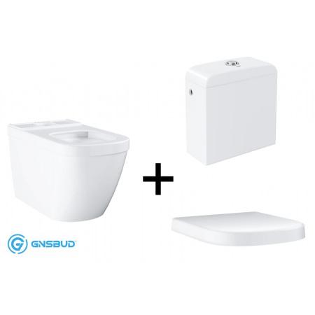 Grohe Euro Ceramic Zestaw Toaleta WC kompaktowa 67x37,4 cm z deską sedesową wolnoopadającą ze zbiornikiem z podłączeniem z boku, biały 39338000+39330001+39333000