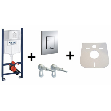 Grohe Rapid SL f. Stelaż podtynkowy 4w1 do WC z przyciskiem uruchamiającym, kątownikiem i matą, 38840000+38732000+3855800M