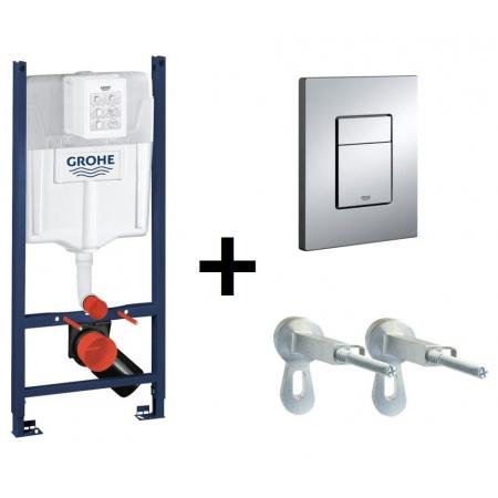 Grohe Rapid SL f. Zestaw Stelaż podtynkowy 3w1 do WC z przyciskiem uruchamiającym i kątownikiem, 38840000+38732000+3855800M