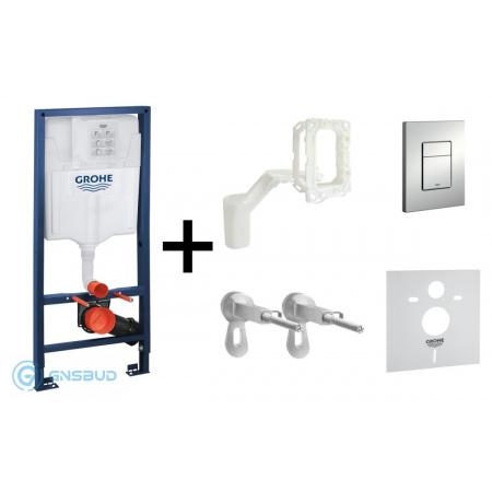 Grohe Rapid SL Zestaw 5w1 Stelaż podtynkowy do WC z przyciskiem spłukującym Skate Cosmopolitan, chrom mat 39449000