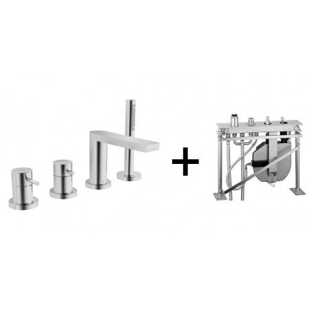 Hansa Stela Zestaw Jednouchwytowa bateria nawannowa 4-otworowa z korpusem podtynkowym do montażu na stelażu chrom 57302011+53020200