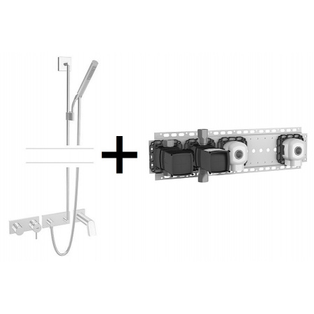 Hansa Stela Zestaw prysznicowy 09 z pakietem instalacyjnym 02 chrom 44873090+44860020
