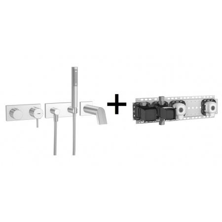 Hansa Stela Zestaw prysznicowy 10 z pakietem instalacyjnym 02 chrom 44873100+44860020
