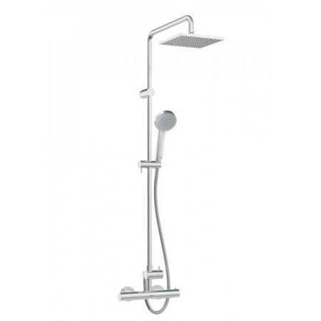 Hansa Unita Zestaw prysznicowy natynkowy z baterią termostatyczną i z deszczownicą 20x20 cm, chrom 581491130067