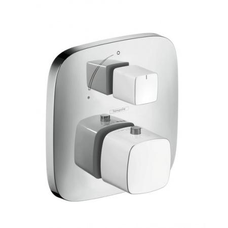Hansgrohe PuraVida Jednouchwytowa bateria termostatyczna podtynkowa z zaworem odcinającym element zewnętrzny, biała/chrom 15775400