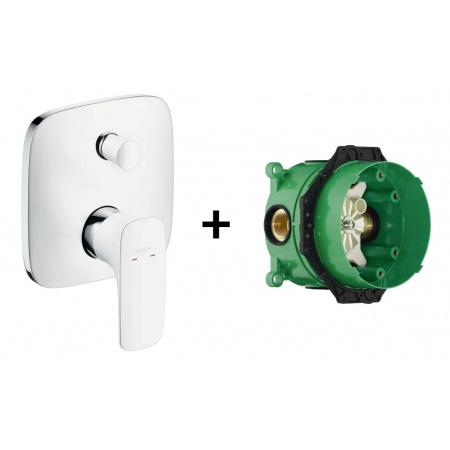 Hansgrohe PuraVida Jednouchwytowa bateria wannowo-prysznicowa podtynkowa z zestawem podtynkowym iBox, biały/chrom 15445400+01800180