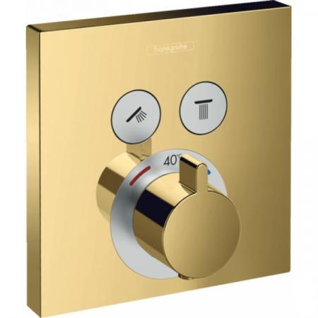 Hansgrohe ShowerSelect Bateria wannowo-prysznicowa podtynkowa z termostatem, polerowany złoty optyczny 15763990