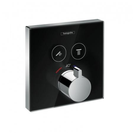 Hansgrohe ShowerSelect Glass Jednouchwytowa bateria prysznicowa podtynkowa termostatyczna, czarny/chrom 15738600