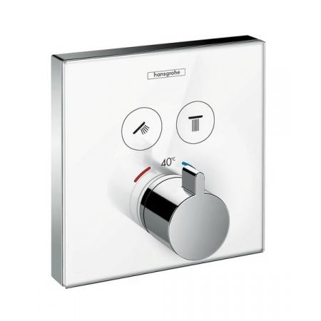 Hansgrohe ShowerSelect Glass Bateria termostatyczna podtynkowa do 2 odbiorników, biała/chrom 15738400