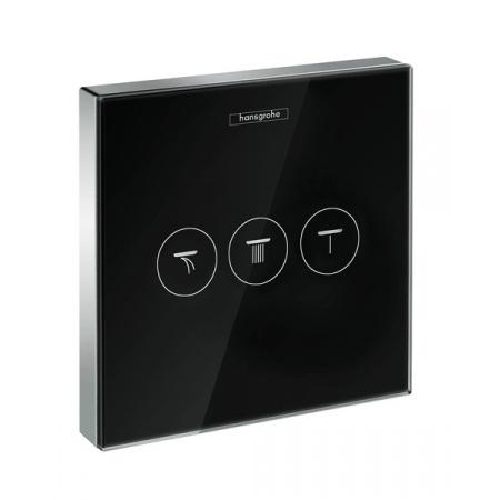 Hansgrohe ShowerSelect Glass Zawór odcinający dla 3 odbiorników podtynkowy element zewnętrzny, czarny/chrom 15736600