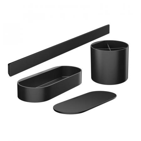 Hansgrohe WallStoris Zestaw Koszyk prysznicowy + przykrywka + kubek + panel ścienny 50 cm czarny mat 27968670