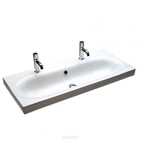 Hatria Daytime Umywalka wisząca 110,5x50 cm z 2 otworami na baterię, biała Y0YS
