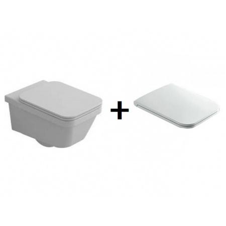 Hatria Erika Pro Q Zestaw Toaleta WC podwieszana 53x34,5 cm z deską sedesową wolnoopadającą, biały YXJ0+YXJM