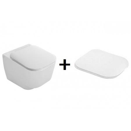 Hatria Fusion 48 Zestaw Toaleta WC podwieszana 48x35 cm z deską sedesową wolnoopadającą, biała YXZL+Y1EY