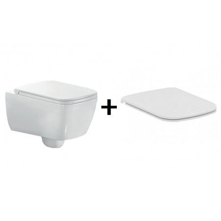 Hatria Fusion Q Zestaw Toaleta WC podwieszana 53x35,5 cm z deską sedesową wolnoopadającą, biały YXBV YXWY+YXVZ
