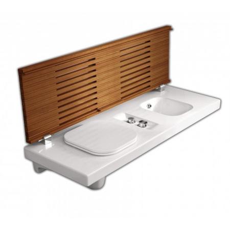 Hatria G-Full Wielofunkcyjna ławka wisząca z toaletą WC i bidetem 141,5x50 cm lewa, biała/drewno iroko YXD1