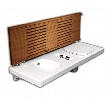 Hatria G-Full Wielofunkcyjna ławka wisząca z toaletą WC i bidetem 141,5x50 cm prawa, biała/drewno iroko YXD0