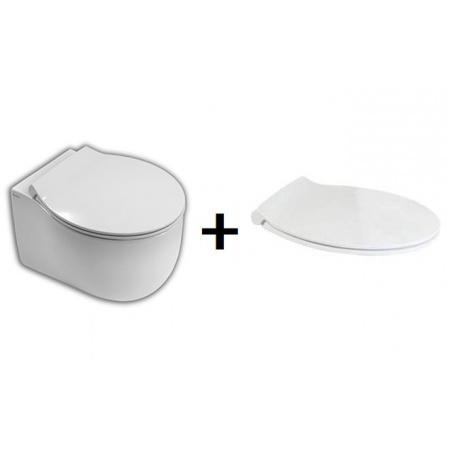 Hatria Le Fiabe Zestaw Toaleta WC podwieszana 50x36,5cm z deską sedesową wolnoopadającą, biały Y1BT+YXWW