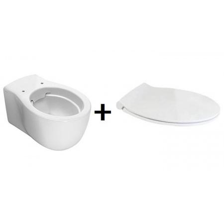 Hatria Le Fiabe Zestaw Toaleta WC podwieszana 55,5x36,5 cm bez kołnierza z deską sedesową wolnoopadającą, biały Y1CD+YXWW