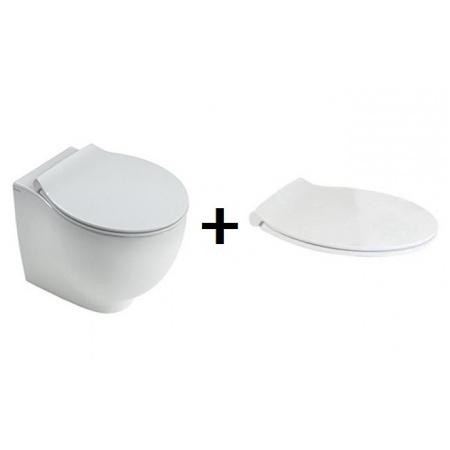 Hatria Le Fiabe Zestaw Toaleta WC stojąca 55,5x37 cm Rimless bez kołnierza z deską sedesową wolnoopadającą, biały Y1E7+YXWW