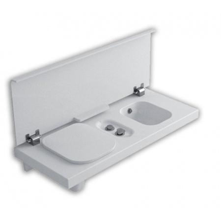 Hatria G-Full Wielofunkcyjna ławka wisząca z toaletą WC i bidetem 120x50 cm lewa, biała YXH3