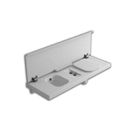 Hatria G-Full Wielofunkcyjna ławka wisząca z toaletą WC i bidetem 141,5x50 cm prawa, biała YXH0