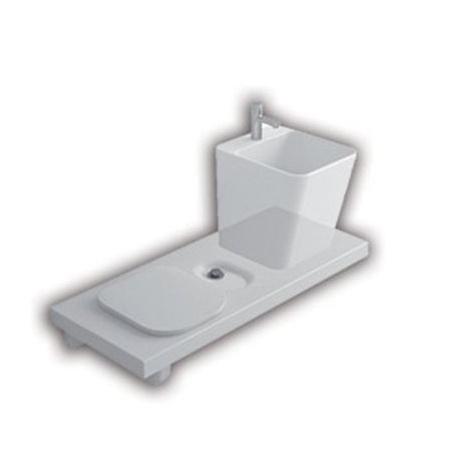 Hatria G-Full Wielofunkcyjna ławka wisząca z toaletą WC i miejscem na umywalkę 120x50 cm lewa, biała YXJX