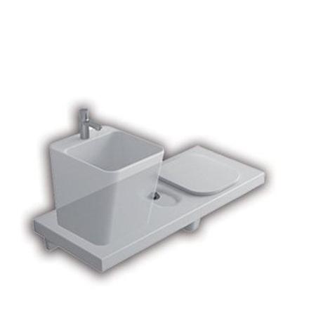 Hatria G-Full Wielofunkcyjna ławka wisząca z toaletą WC i miejscem na umywalkę 120x50 cm prawa, biała YXJW
