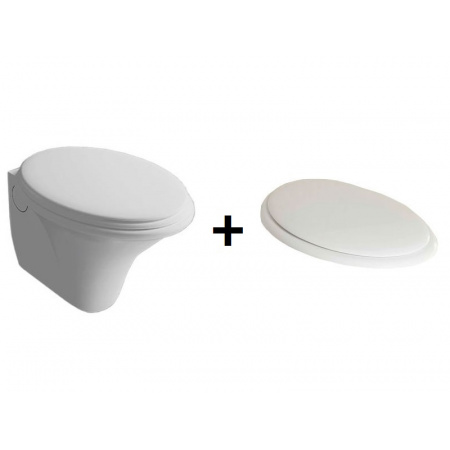 Hatria Sculture Zestaw Toaleta WC podwieszana 60x40 cm z deską sedesową wolnoopadającą, biały YXKN+YXXX