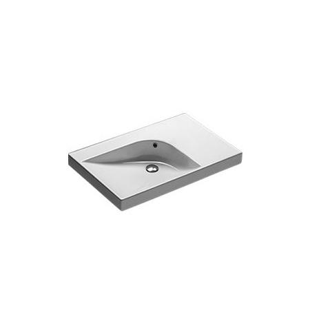 Hatria Grandangolo Umywalka wisząca 75x50x17 cm bez otworu na baterię, biała Y0XK
