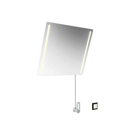 Hewi 801 Lustro ścienne uchylne z oświetleniem LED i przełącznikiem 60x54 cm białe 801.01.40198