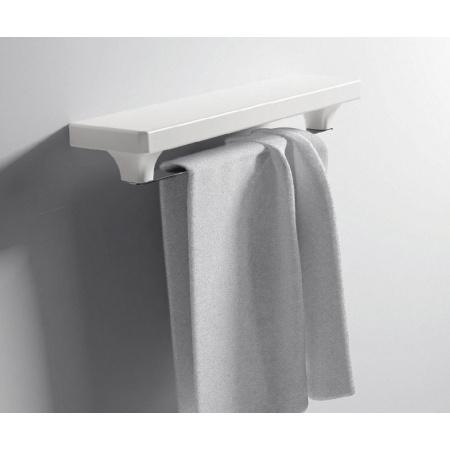 Hidra Piano Półka na ręczniki z wieszakiem 42x15x8,5 cm, biała PI04