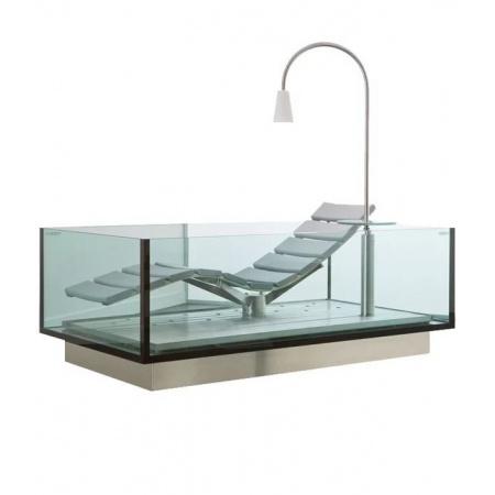 Hoesch Water Lounge Wanna prostokątna 200x120 cm z leżanką, szklana/stalowa 3690