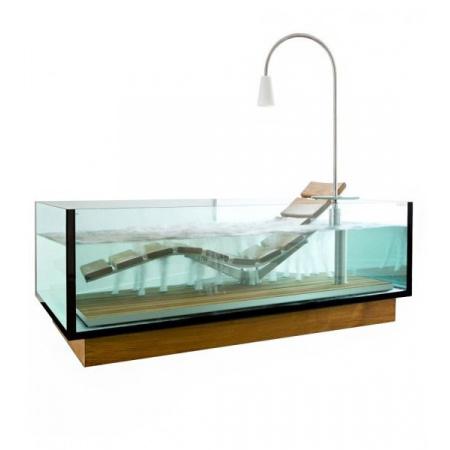 Hoesch Water Lounge Wanna prostokątna 200x120 cm z leżanką, szklana/drewniana 3704