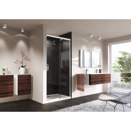 Huppe Aura Elegance 4-kąt Drzwi prysznicowe przesuwne 130x200 cm ze stałym segmentem prawe, profile srebrny mat szkło przezroczyste Anti-Plaque 401515.087.322
