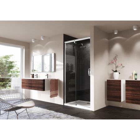 Huppe Aura Elegance 4-kąt Drzwi suwane 1-częściowe ze stałym segmentem 160x190 cm z funkcją soft open/soft close, profile srebrne matowe, szkło sand plus 401408.087.315.730