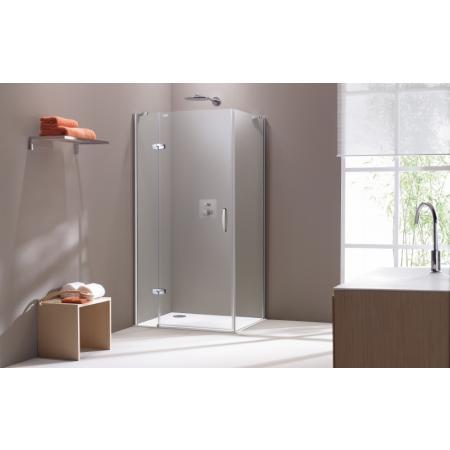 Huppe Aura Elegance 4-kąt Ścianka boczna SW 80x190 cm profile srebrne matowe, szkło przezroczyste 400603.087.321