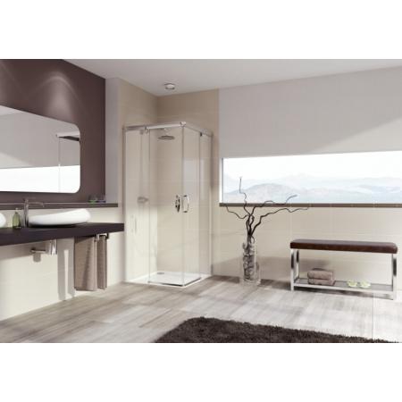 Huppe Aura Elegance 4-kąt Wejście narożnikowe drzwi suwane 2-częściowe 90x90x190 cm profile srebrne matowe, szkło przezroczyste 401302.087.321