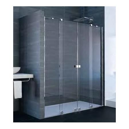 Xtensa Pure 4-kąt Drzwi prysznicowe przesuwne 2-częściowe z 2 stałymi segmentami 140-160x200 cm, profile czarne black edition, szkło sand plus Anti-Plaque XT1001.123.316